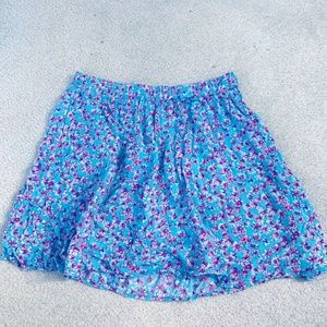 Floral mid thigh skirt pink and blue. Elastic wais